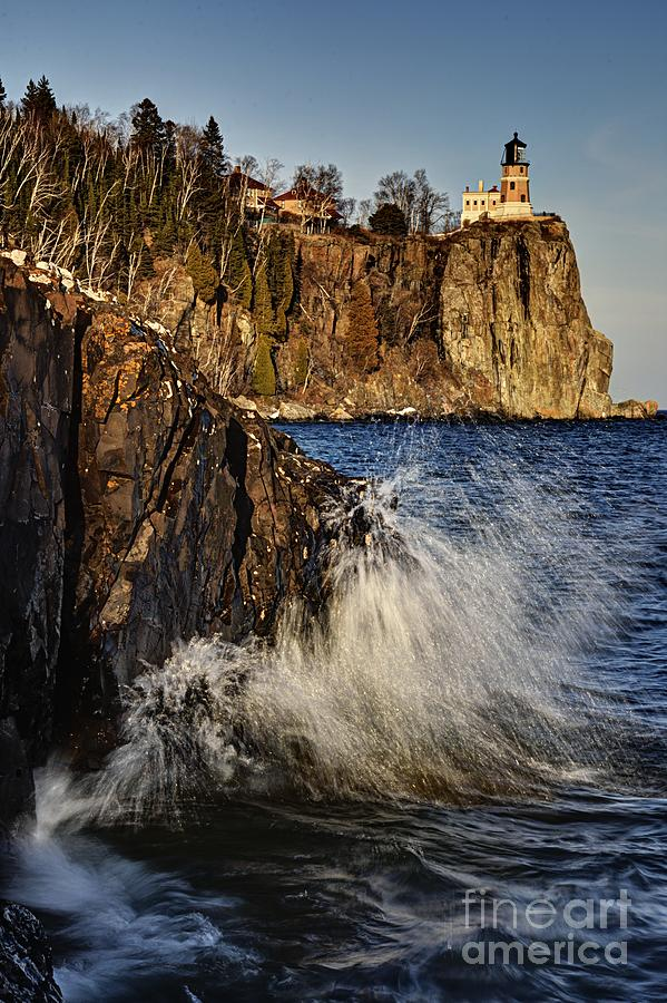 Nature Photograph - Lighthouse and Spray by Larry Ricker