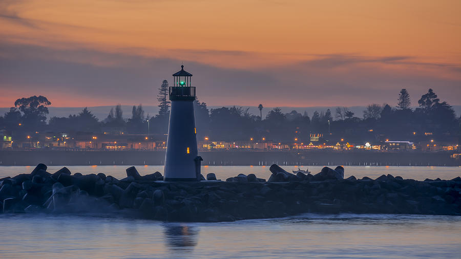 Sunset Photograph - Lighthouse And Wharf At Dusk by Bruce Frye
