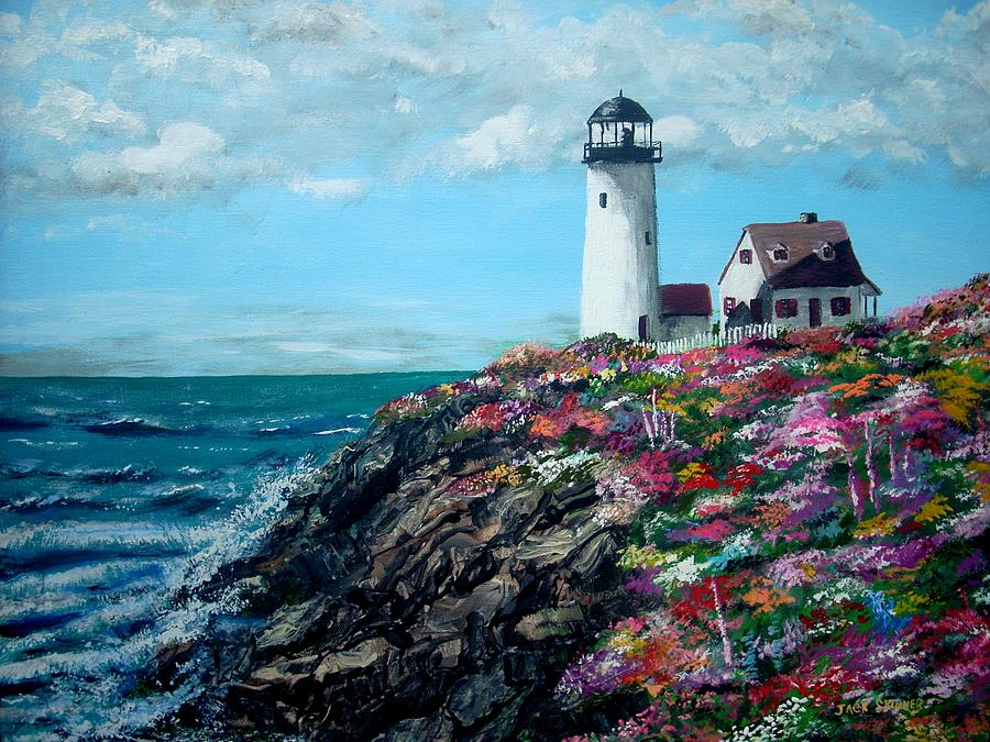 Seascape Painting - Lighthouse At Flower Point by Jack Skinner
