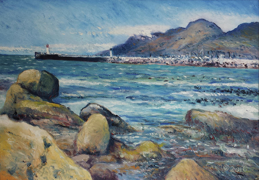 Kalk Bay Painting - Lighthouse At Kalk Bay Cape Town South Africa 2016 by Enver Larney