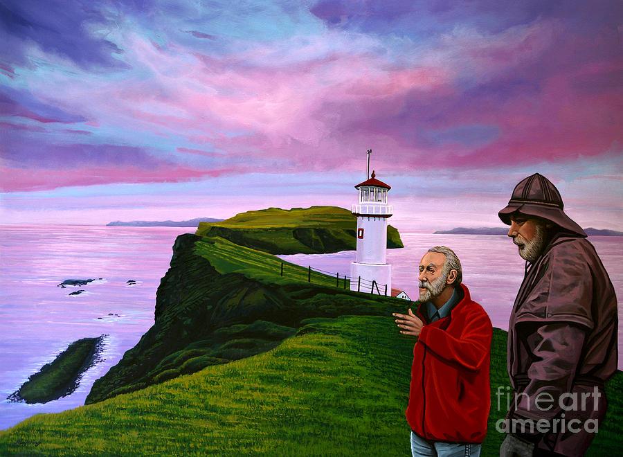 Denmark Painting - Lighthouse At Mykines Faroe Islands by Paul Meijering