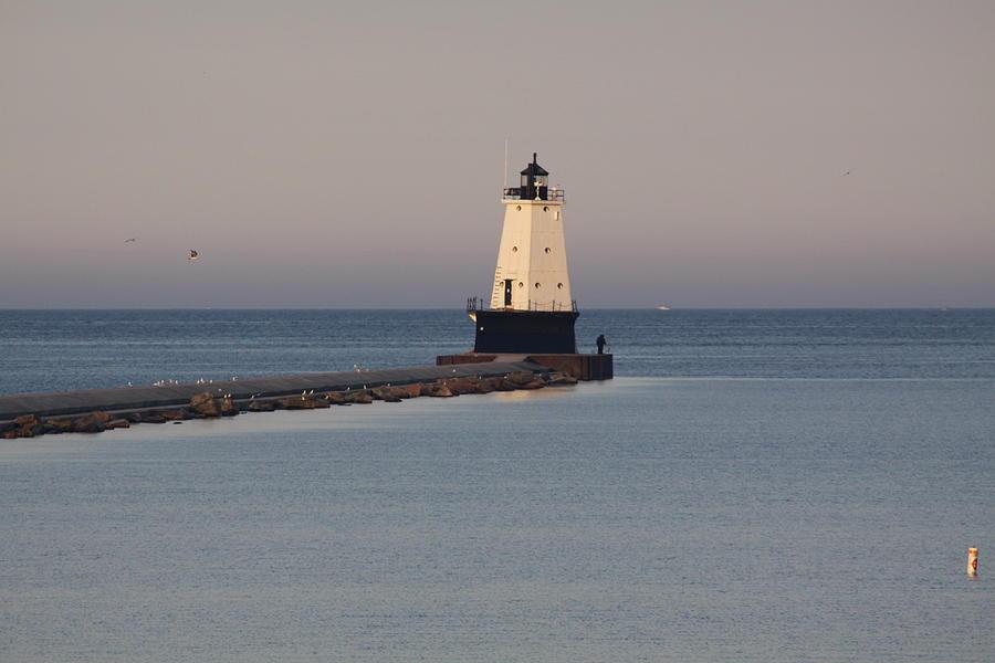 Lighthouse Photograph - Lighthouse At Sunset by Chuck Bailey