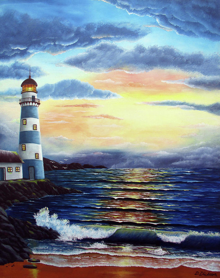 Painting Painting - Lighthouse At Sunset by Debra Dickson
