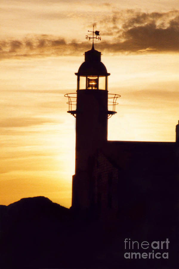 Serene Photograph - Lighthouse At Sunset by Mary Mikawoz