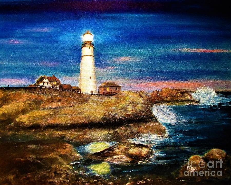 Lighthouse at Twilight by Olga Silverman