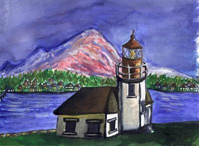 Lighthouse Painting - Lighthouse by Caroline Lifshey