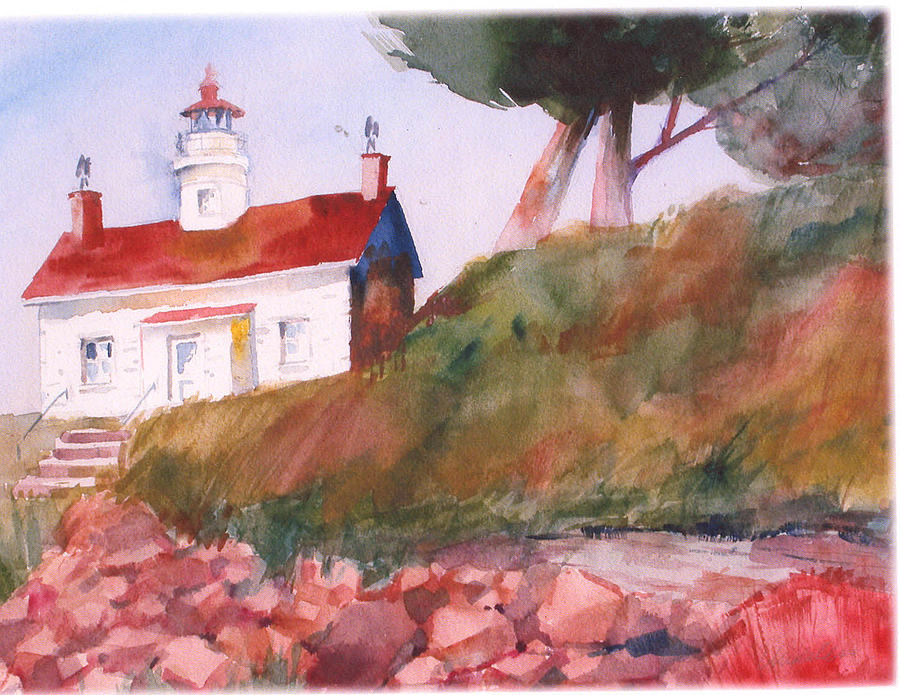 Landscape Painting - Lighthouse by Florence Unkeless