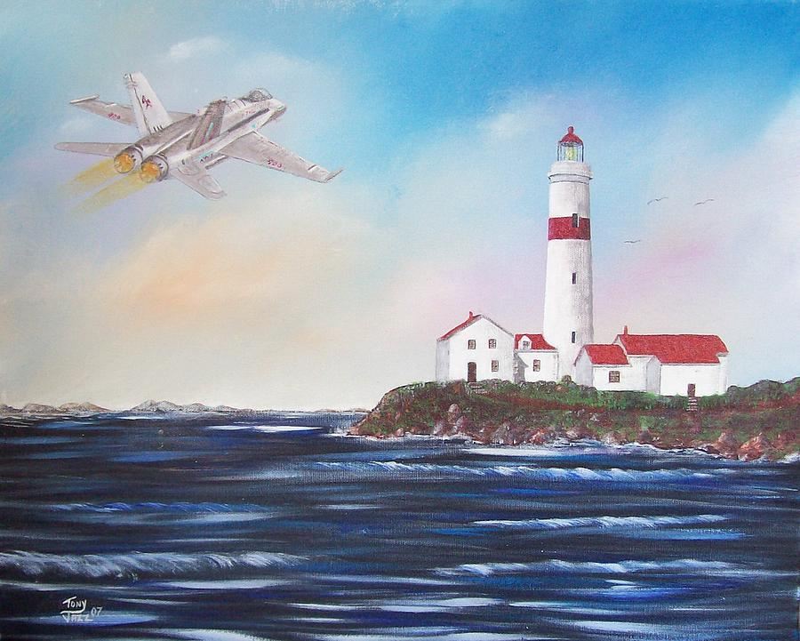 Seascape Painting - Lighthouse Fly By by Tony Rodriguez