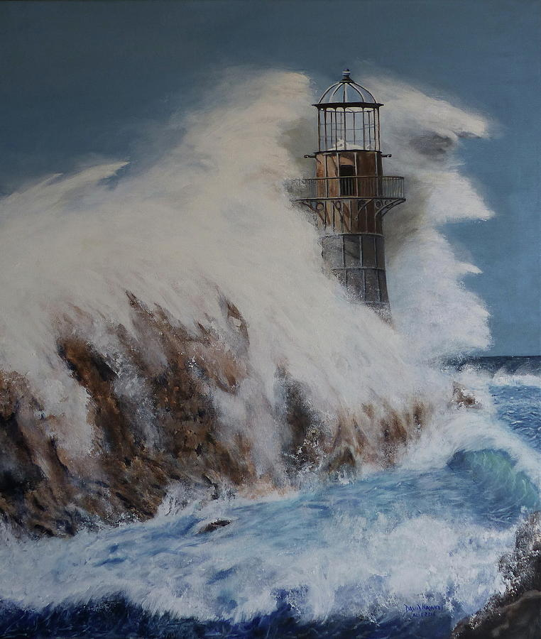 Lighthouse In A Storm Painting by David Hawkes