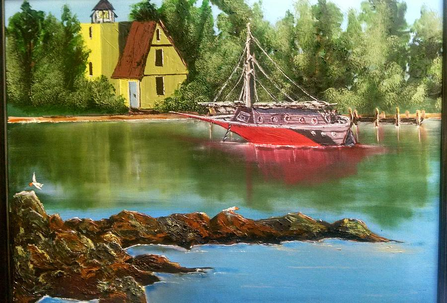 Lighthouse In Maine Painting by Evan Whipple