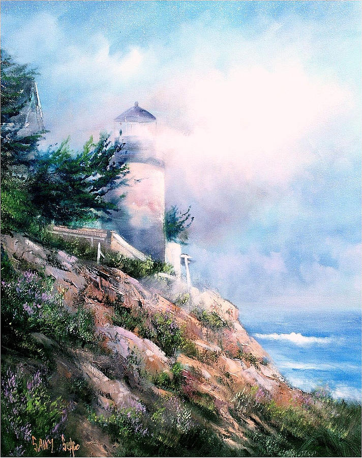 Lighthouse Painting - Lighthouse In The Mist by Sally Seago