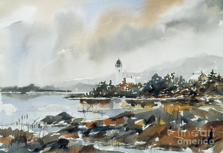 Watercolor Painting - Lighthouse Inlet by Richard Jansen