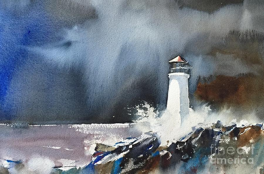Watercolor Painting - Lighthouse by John Byram