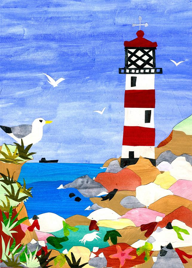 Seascape Mixed Media - Lighthouse by Judy Adamson