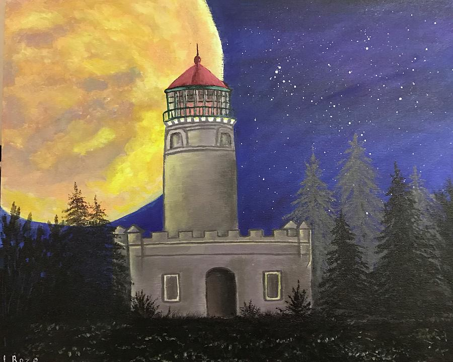 Original Acrylic Painting On Canvas Panel 16x20 Title Lighthouse