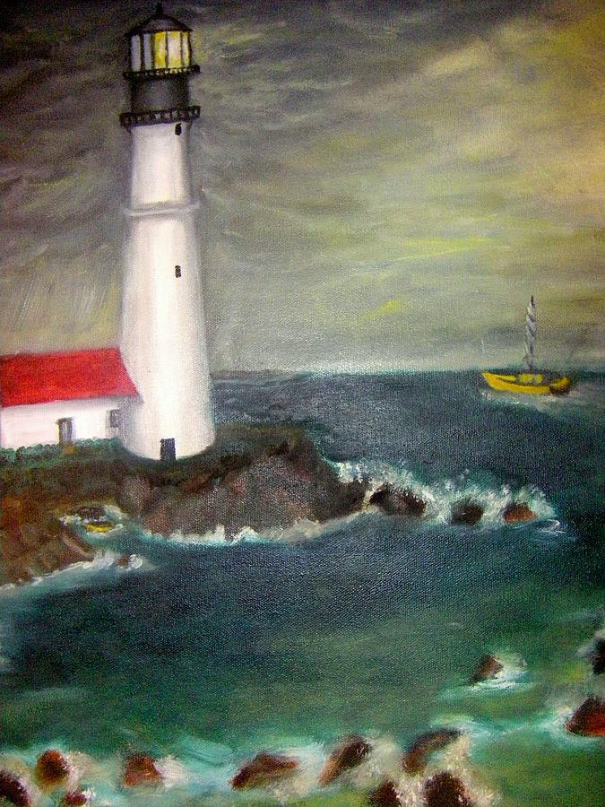 Lighthouse New Painting by Gloria M Apfel