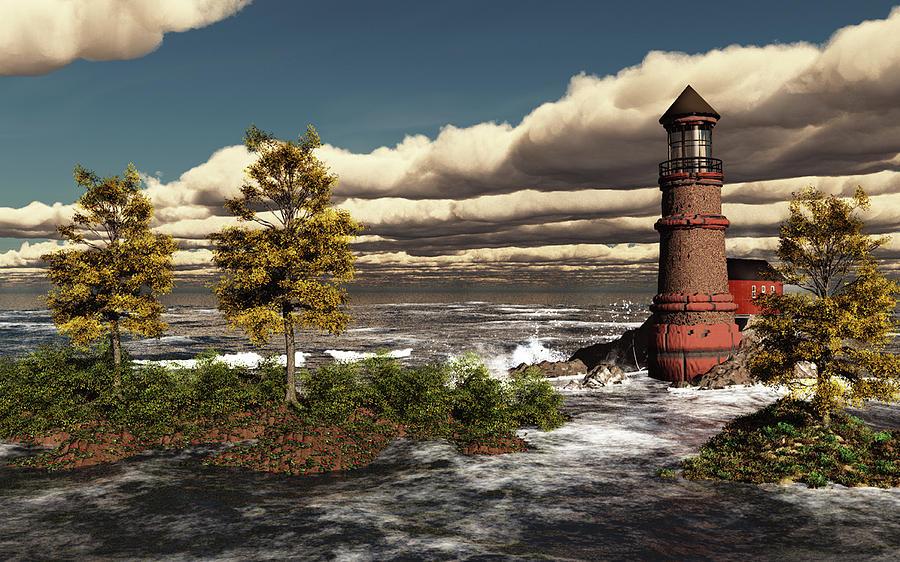Lighthouse Ocean Scene by John Junek