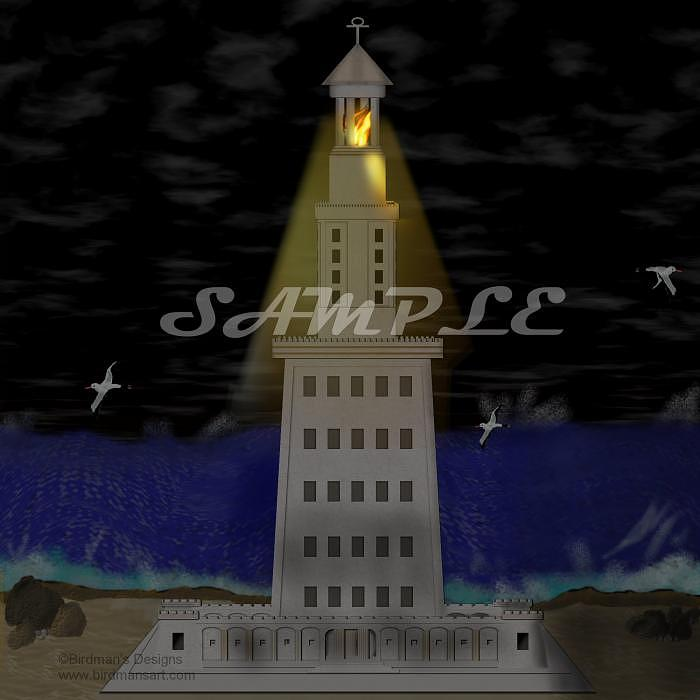 Lighthouse Of Alexandria Painting - Lighthouse Of Alexandria Burning Bright by Mike Sexton
