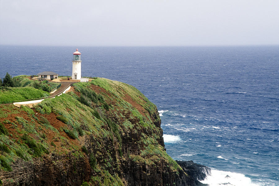 Aerial Photograph - Lighthouse On A Cliff Kileaua Lighthouse by George Oze