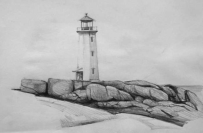 Lighthouse On Rocky Coast Drawing by William Hay