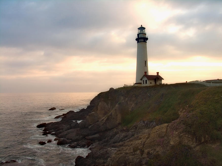 Landscape Photograph - Lighthouse On The Cliff  Pigeon Point  California by George Oze