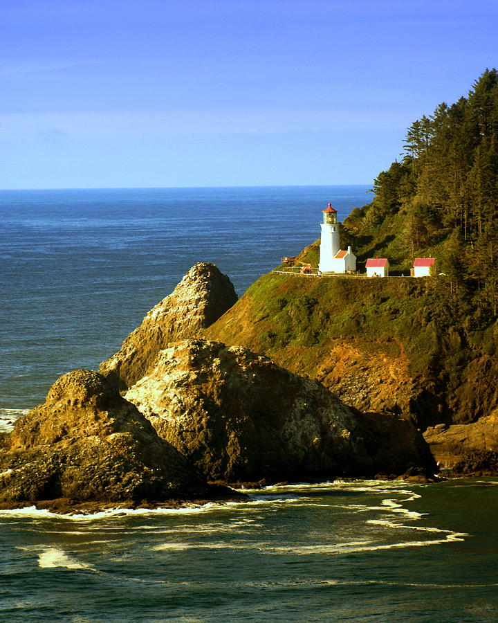 Ocean Photograph - Lighthouse On The Oregon Coast by Marty Koch