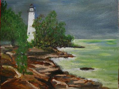 Lighthouse Painting by Phil Cashdollar