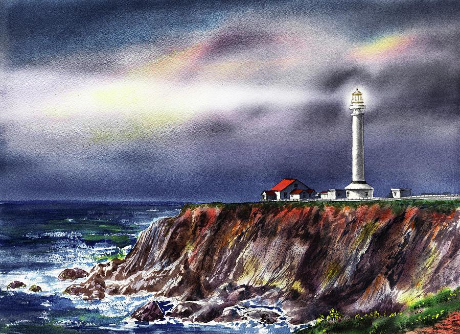 Lighthouse Point Arena At Night by Irina Sztukowski