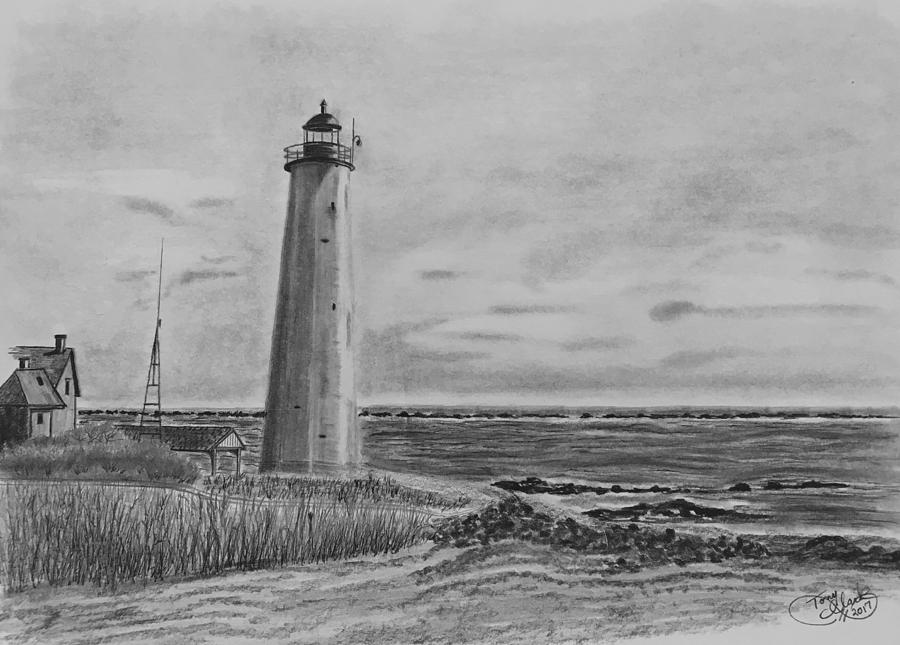 Landscape Drawing - Lighthouse Point by Tony Clark