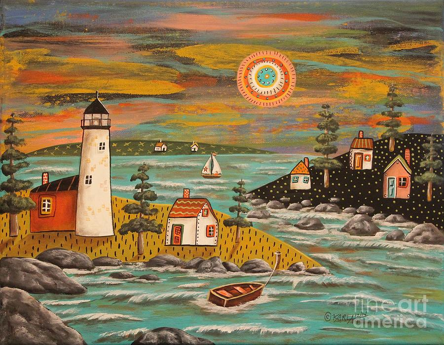 Seascape Painting - Lighthouse Sail by Karla Gerard