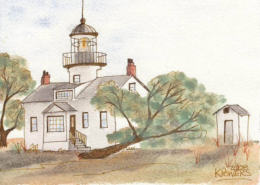 Lighthouse Painting - Lighthouse Sketch by Ken Powers