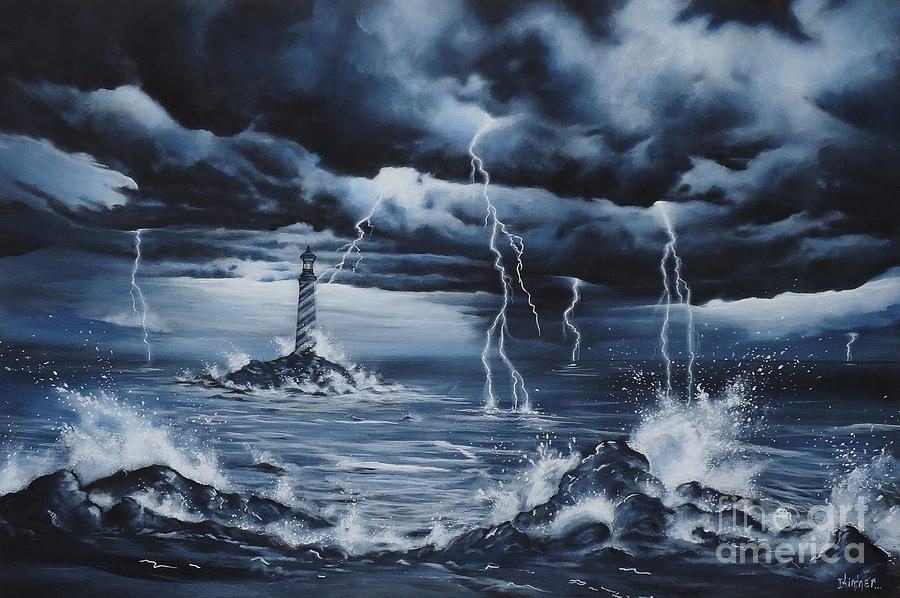 Lighthouse Storm Painting By Zach Kintner