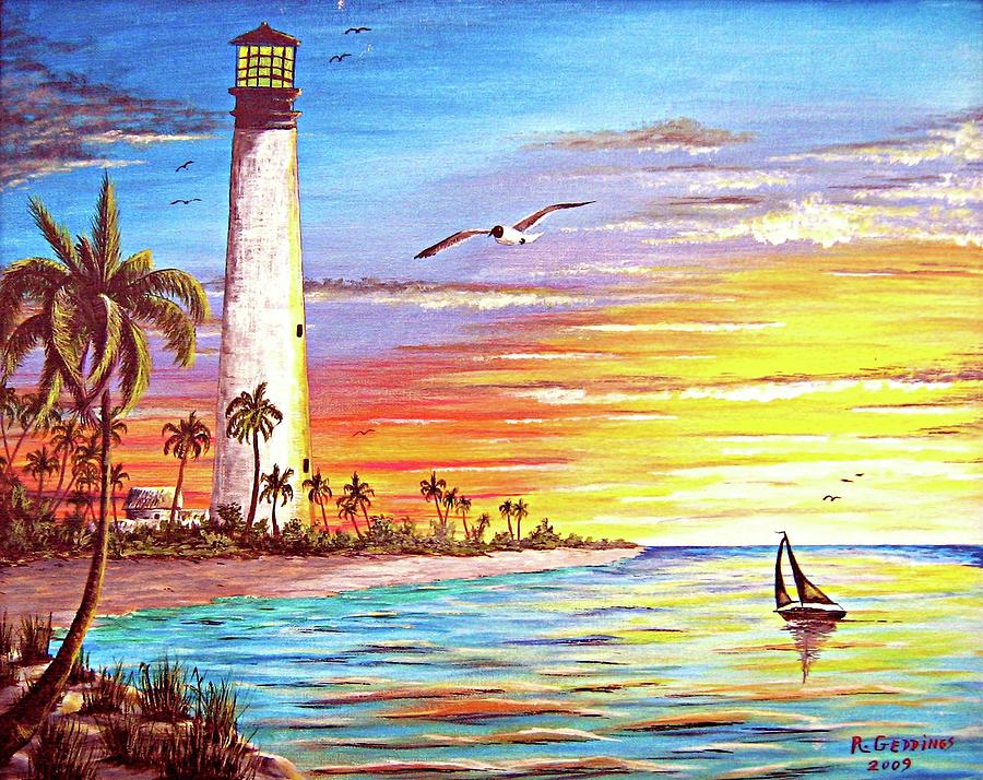 Lighthouse Sunrise Painting By Riley Geddings