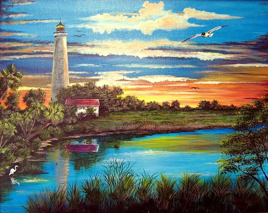Lighthouse Sunset Painting By Riley Geddings