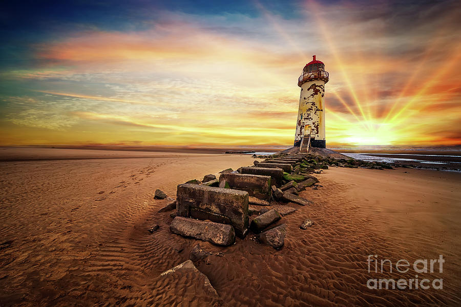 Lighthouse Photograph - Lighthouse Sunset Wales by Adrian Evans