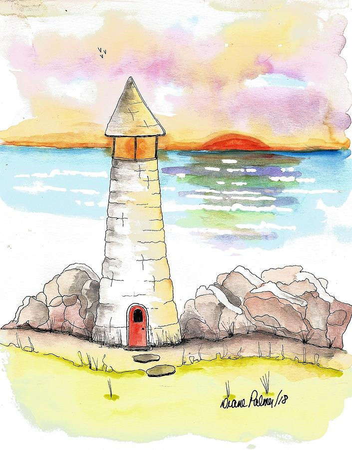 Lighthouse Sunset Watercolor Painting by Diane Palmer