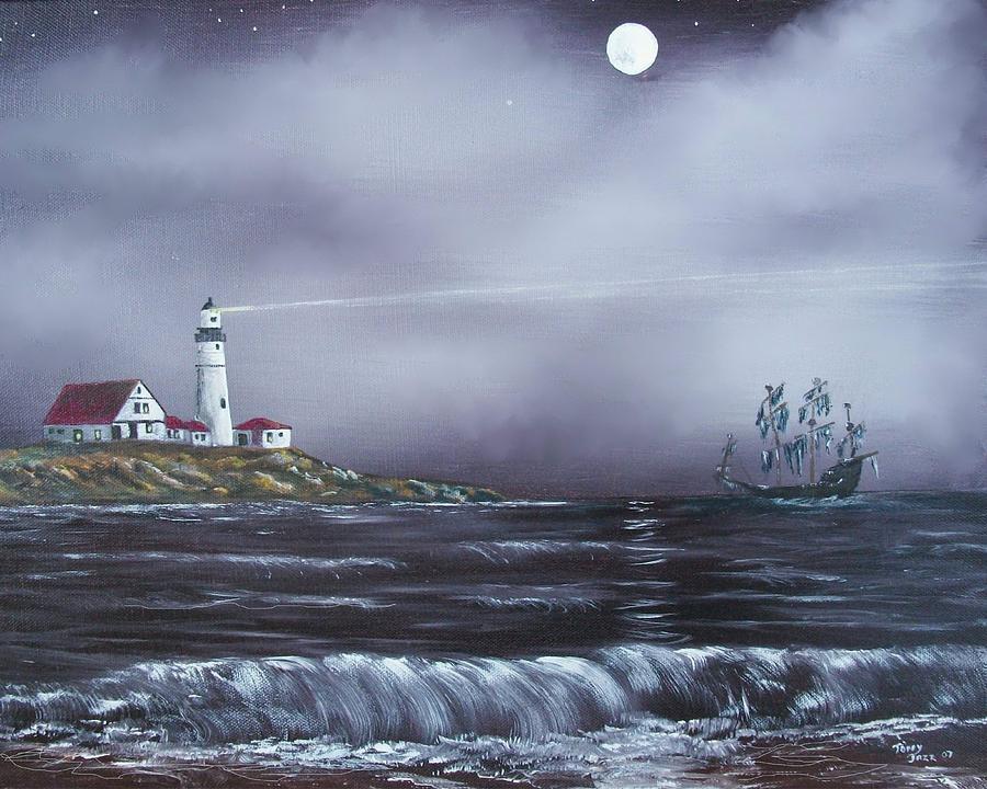 Seascape Painting - Lighthouse  by Tony Rodriguez