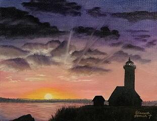 Lighthouse Print - Lighthouse Twilight by Elizabeth Hannah