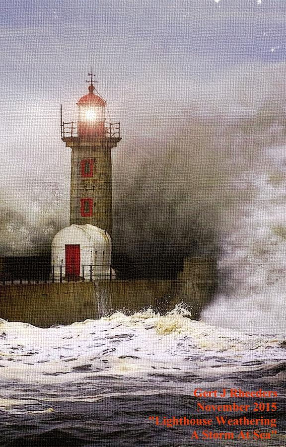 Lighthouse Painting - Lighthouse Weathering A Storm At Sea H A by Gert J Rheeders