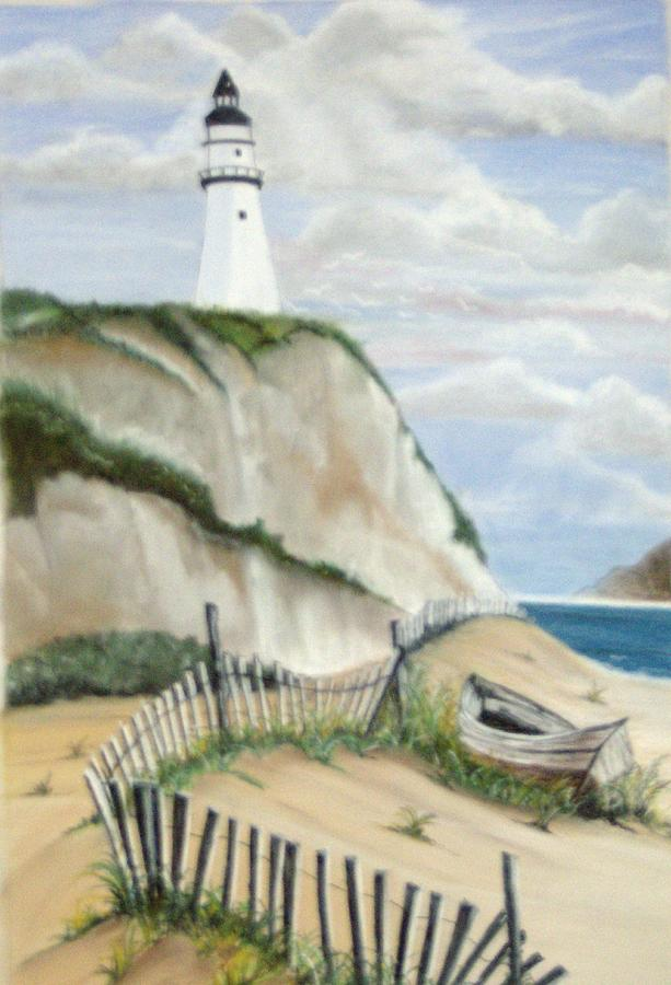Beach Pastel - Lighthouse With Abandoned Boat by Linda Bennett