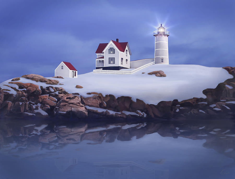Lighthouse Painting - Lighting Of The Nubble Lighthouse by James Charles