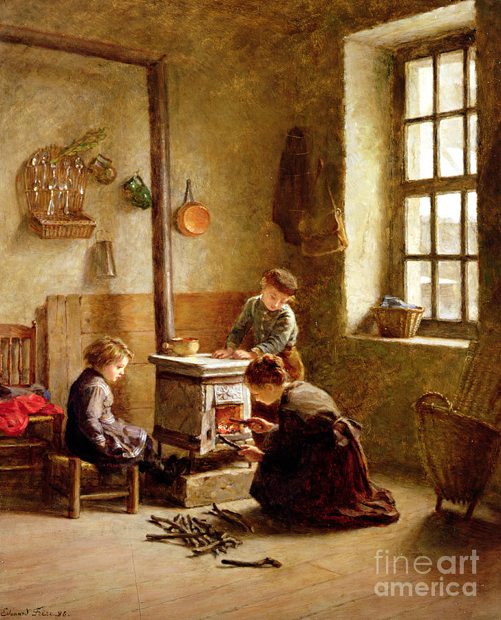 Pierre Painting - Lighting The Stove by Pierre Edouard Frere