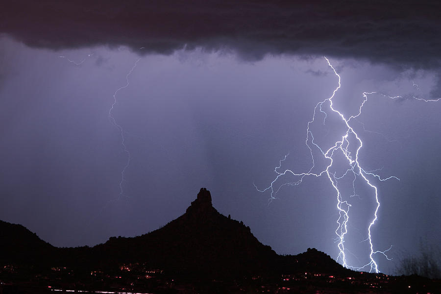 Arizona Photograph - Lightnin At Pinnacle Peak Scottsdale Arizona by James BO  Insogna