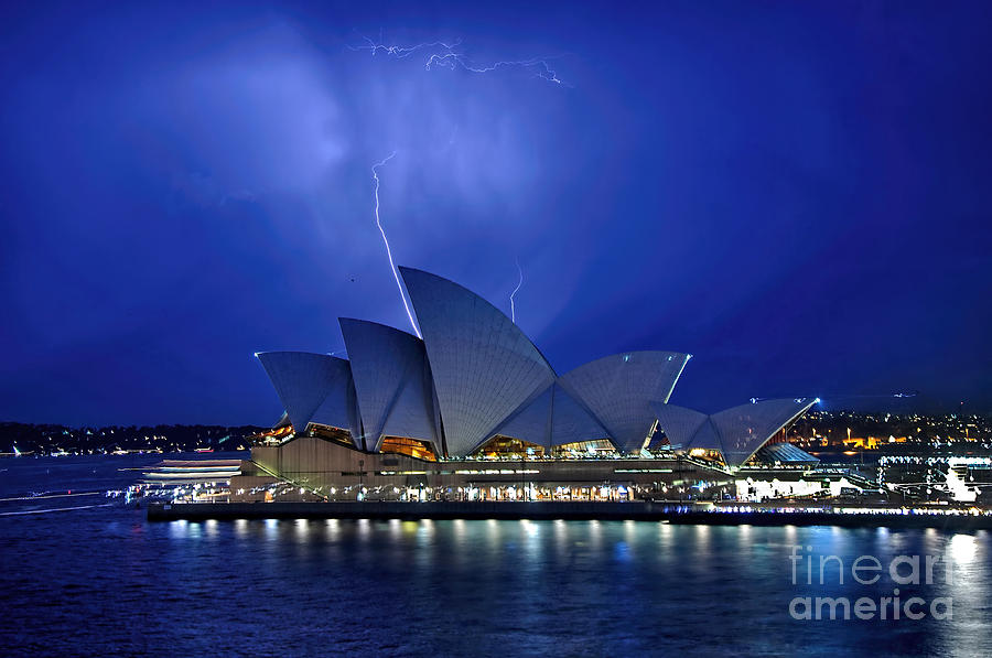 Photography Photograph - Lightning Above The Opera House by Kaye Menner