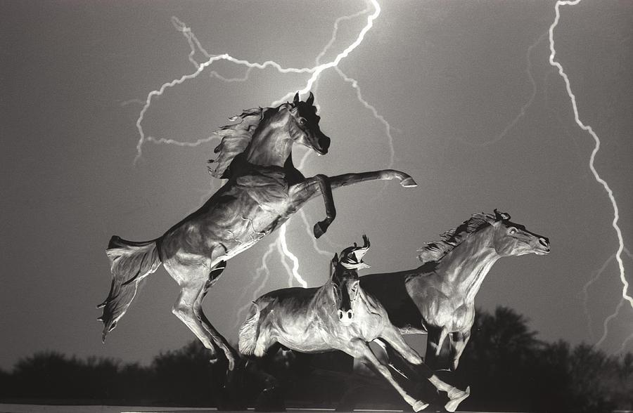 Lightning At Horse World Photograph