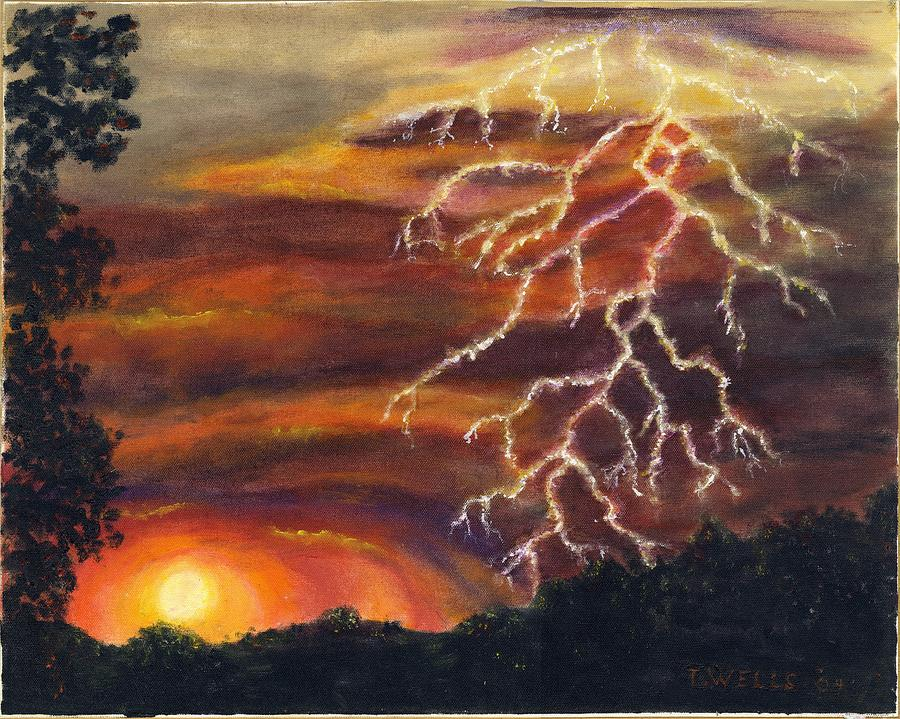 Lightning At Sunset Painting by Tanna Lee M Wells