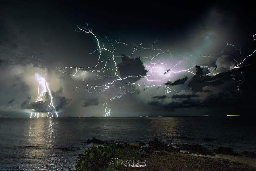 Landscape Photograph - Lightning At The Bermuda Triangle by Karl Alexander