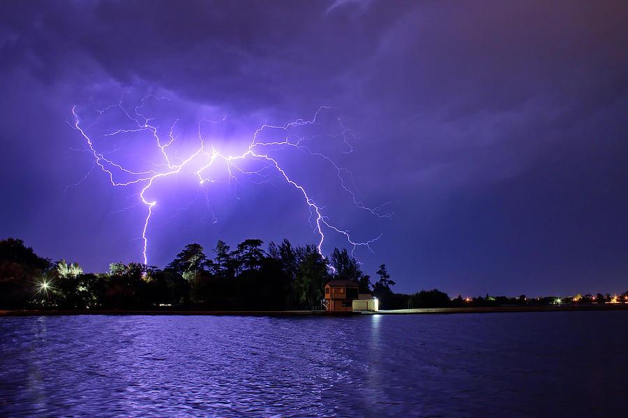 Lightning Photograph - Lightning Bolt Cracks Over Lake Wendouree by Matthew Burniston