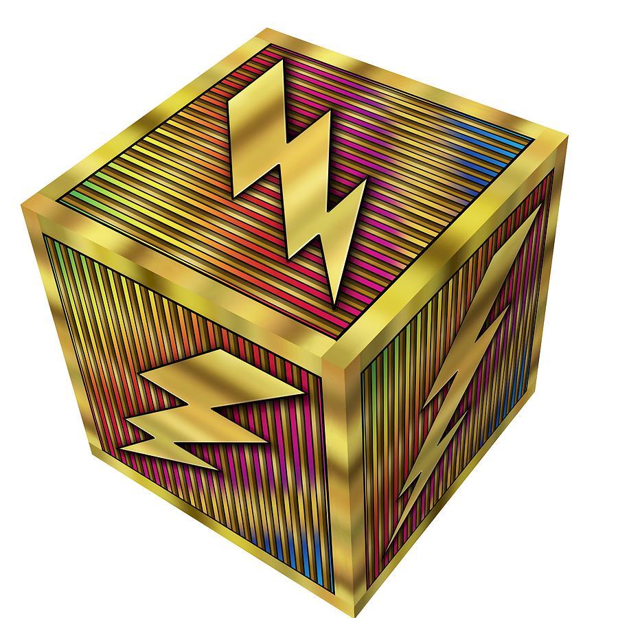 Lightning Bolt Cube - Transparent Digital Art by Chuck Staley