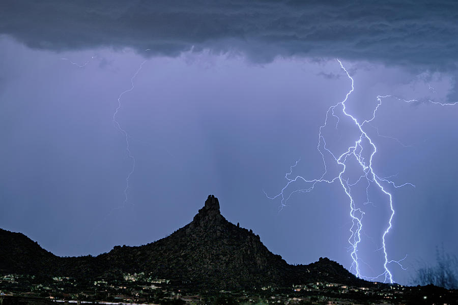 Lightning Photograph - Lightning Bolts And Pinnacle Peak North Scottsdale Arizona by James BO Insogna